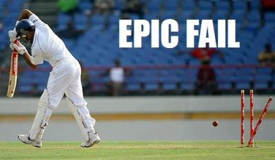 Walking down the wicket, playing over the top of the ball= EPIC FAIL